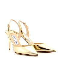 TILLY METALLIC-LEATHER SLING-BACK PUMPS
