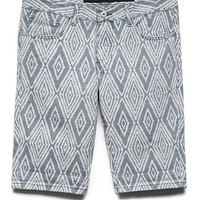Geo Print Denim Shorts