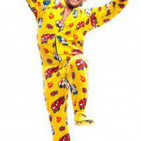 Yellow Fire Trucks - Polar Fleece Pajamas - Pajamas Footie PJs Onesuit One Piece Adult Pajamas - JumpinJammerz.com