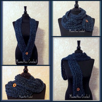 Dark Blue Infinity Scarf with Wooden Button Adjustable Cowl Neck Long Scarf Soft Warm Neck Warmer Womens Ladies Teens Handmade Crochet