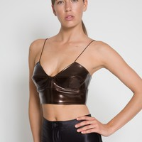 Genuine Leather Tiger Eye Patient Bustier Top - Austanavich Outfitters