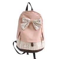 SlimACC New Top Trendy Cute Korean Lace Backpack College Style Leisure Backpack Gilr's Lovely Bow Vintage Floral Print School Bag Retro Sweet Fashionable Outdoor Backpack for Teens Students Women Ladies Girls
