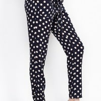 Navy Polk Dot Pants