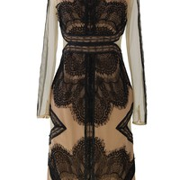 Eyelash Lace Mesh Maxi Dress in Tan