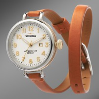 Shinola 'The Birdy' White Watch Orange Leather Strap, 34mm