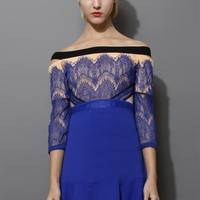 Cut Out Shoulder Eyelash Lace Frill Hem Dress