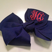 Preppy Large Glitter Monogrammed Hair Bow Perfect for Easter