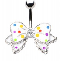 MULTI COLOR BOW BELLY BUTTON RING