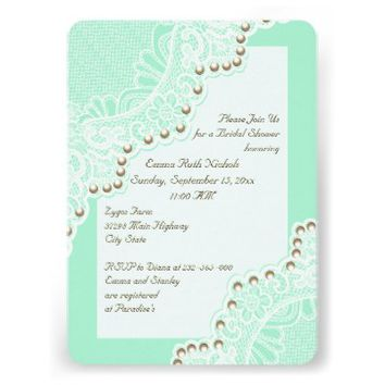 White lace with pearls mint wedding bridal shower