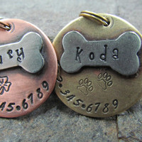 Pet ID Tag - Pet Tag - Dog Tag - Collar Tag - with a Nickel Bone - Brass or Copper