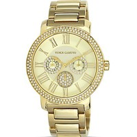 VINCE CAMUTO Women's Gold-Tone Glitz Watch, 42mm