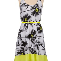 High-low neon trim floral print dress