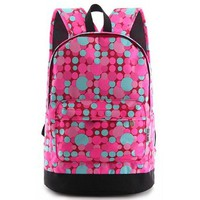 Spring Colorful Contrast Dot Print Backpack Travelling Bag Schoolbag