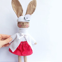 Stuffed Bunny Rabbit doll Stuffed Animal Plush Bunny toy handmade Animal Baby doll embroidered face Child Friendly