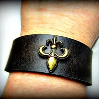 Fleur de Lis Leather Wrist Band Unisex Brown Black Tan