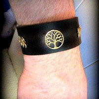 GP Tree of Life Leather Wrist Band Gold Leaves; tan brown black