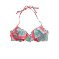 BRIDGET RUFFLE & PRINT PUSHUP BIKINI TOP