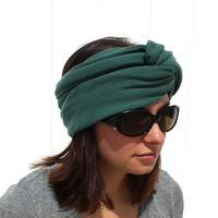 Teal Green Turban and Infinity Scarf - All in One - Multi Purpose Headband - Petite Infinity Scarf