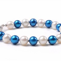 North Carolina Tar Heels UNC Spirit Pearl Bracelet Jewelry. Free Shipping