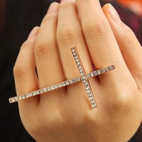 Fashion Cross Rhinestone Two Fingers Ring