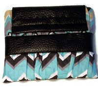 Clutch Purse Black Blue Zig Zag Cotton Faux Leather Handbag