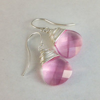 Blush pink earrings. Sterling silver wire wrapped teardrops. Light rose Swarvoski crystal briolettes. Handmade jewelry.