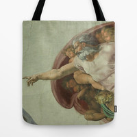 Sistine Chapel - Creation of Man Tote Bag by BeautifulHomes