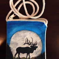 Hand Painted Elk Purse on a String