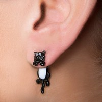 Black and White Kitty Cat Front and Back Earrings | Claire's