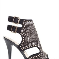 Peep Toe Platform High Heels with Cutout Sides