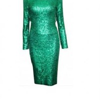 Emerald Green Sequin Deep Openback Dress