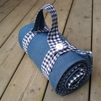 handmade picnic blanket / retro rustic and roomy in by SewnNatural