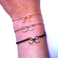 Little Bow and Dainty Chain Bracelet