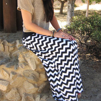 Maxi Skirt, Black & White Chevron Maxi Skirt, Cotton Lycra, Women's XS-XL, Petite, Average, Tall