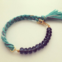 Grey Skies Indie Bracelet- Beautiful Stone and Thread Braided Bracelet