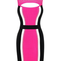 Bqueen Beaded Cut Out Sexy Bandage Dress D1401 #pink #black #dress #embellishment #cutouts #sexy #chic #partydress #bodycon