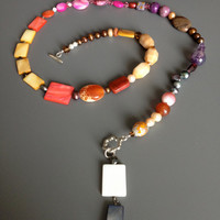 Shell, Agate, Pearls, Goldstone, Coral, Jasper, Glass and Crystal Asymmetrical Necklace