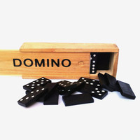 Vintage wooden domino set german domino set collectible game toy gift game gift retro domino 1989s