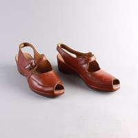 40s Golden Brown WEDGES / Peeptoe Leather SHOES, 8.5