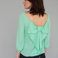 Mint Bow Back Blouse