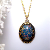 Tiki Blue Fire Opal Necklace Set In Antique Gold