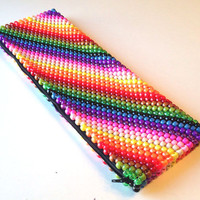 Oversized Clutch Bag, Kandi Purse, Beaded Purse, Striped Clutch, Oversized Bag, Rainbow Bag, Large Clutch