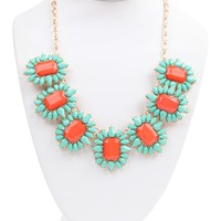 Statement Necklace with Bright Stone Bursts