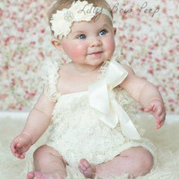 Baby Girl Clothes-Ivory Lace Petti Romper SET-Baby Girl Outfit-Preemie-Newborn-In­fant-Child-Toddler-Easter Dress Up-Baptism-Wedding-Vintag­e