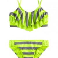 Stripe Flounce Bikini Swimsuit