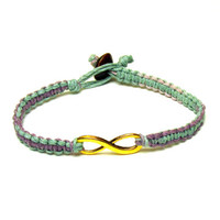 Pastel Infinity Bracelet, Gold Tone Charm, Jewelry for Best Friends or Couples