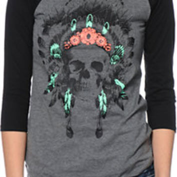 Empyre Georgina Headdress Charcoal & Black Baseball Tee Shirt