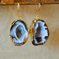Shimmering Starry Night Geode Druzy Earring Black - Agate Geode - Geode Earrings - Geode Jewelry - Druzy Earrings - Druzy Jewelry