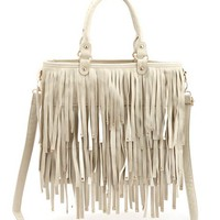 STUDDED FRINGE TOTE BAG