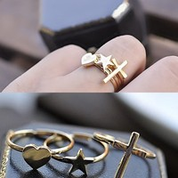 Heart, Star & Cross Ring Set from P.S. I Love You More Boutique